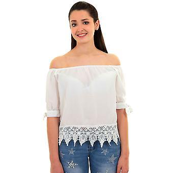 Ladies Off Shoulder Bardot 3/4 Knot Sleeve Chiffon Lace Crochet Hem Blouse Top