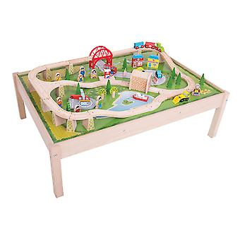 Bigjigs Rail Wooden Services Train Set and Play Table Railway Track Set