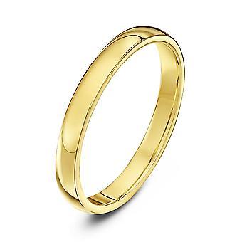 Star anneaux de mariage 18 carats jaune or lourds Cour forme 2,5 mm bague de mariage