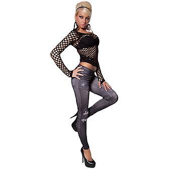 Waooh - Mode - Leggins long - Imprimé jean usé et délavé - Noir