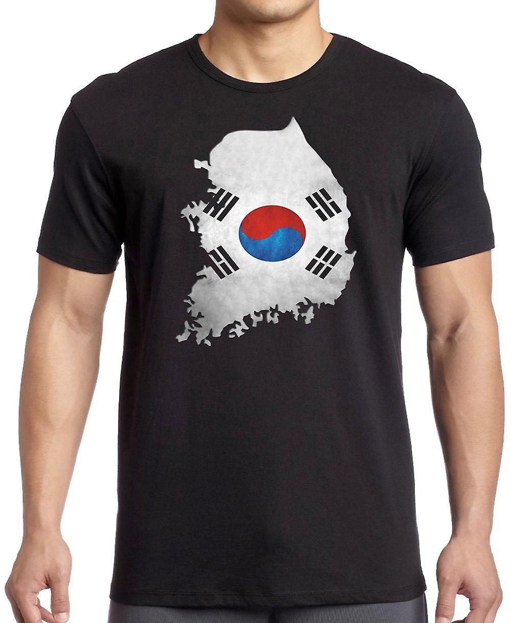 South Korea Flag Map T Shirt  - 4xl