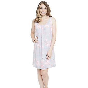 Cyberjammies 4114 Women's Zara Grey Flamingo Print Night Gown Loungewear Nightdress