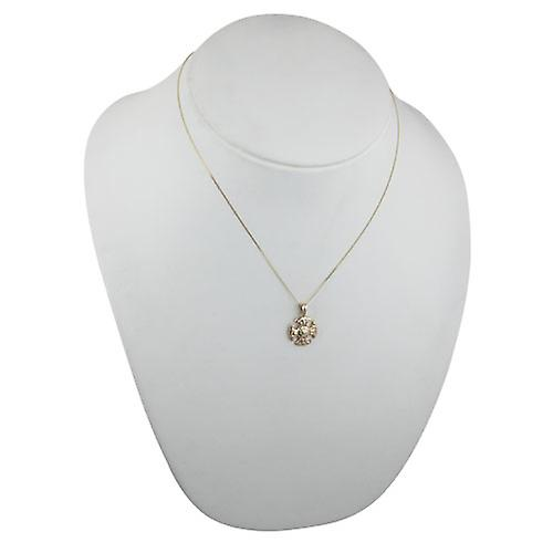 9ct Gold 16mm Fancy Cross with a curb Chain 18 inches