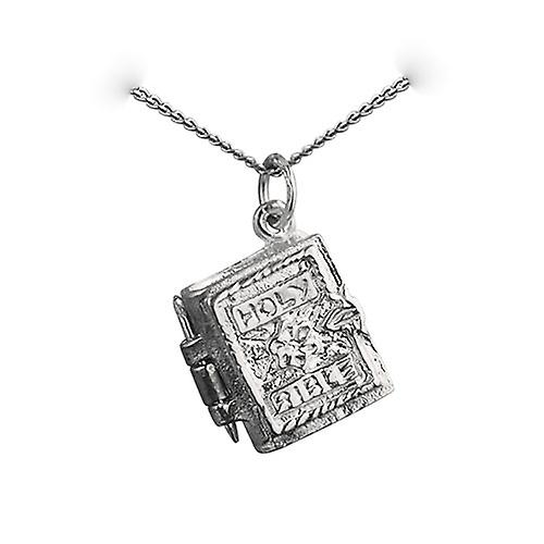 Silver 15x14mm The Holy Bible Pendant with a curb Chain 24 inches