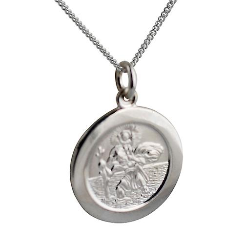 Silver 21mm round St Christopher Pendant with car boat train plane on back with a curb Chain 18 inches