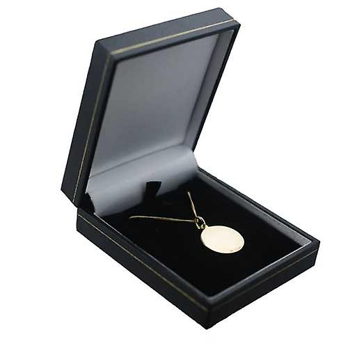 18ct Gold 20mm round St Christopher Pendant with a curb Chain 16 inches Only Suitable for Children