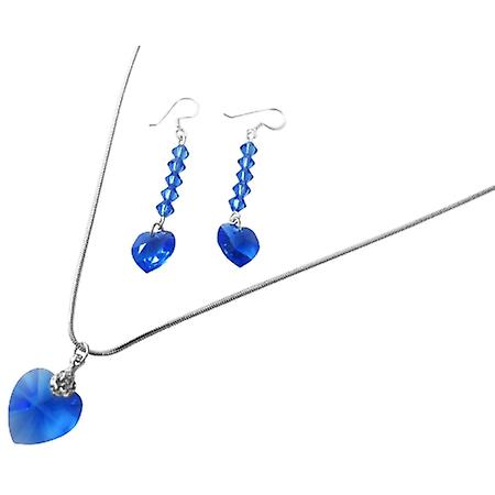Lite Sapphire Crystals Heart Pendant Jewelry Pendant Earrings
