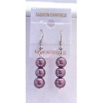 Aretes de perlas simuladas 8 mm hermoso y de moda púrpura perlas
