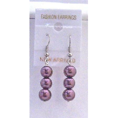 Simulated 8mm Beautiful & Fashionable Purple Pearls Beads Earrings