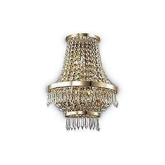 Ideal Lux - Caesar Gold-Finish Wandleuchte mit Kristallen IDL137704