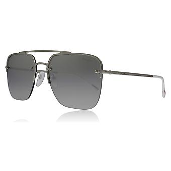 Prada Sport PS54SS QFP2B0 Silver Rubber PS54SS Oval Sunglasses Lens Category 3 Lens Mirrored Size 59mm