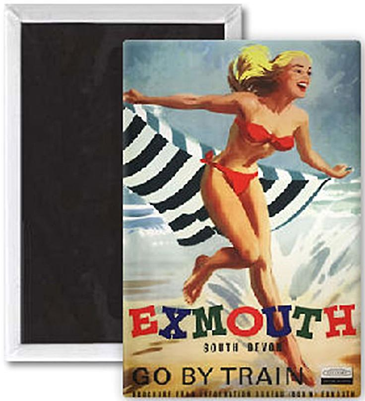 Exmouth (girl in bikini) old rail ad. fridge magnet  (se)