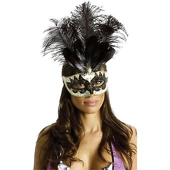 Carnival Mask Big Feathr Bk/Gd For Masquerade