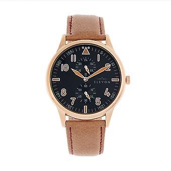 Elevon Turbine Leather-Band Watch - Rose Gold/Camel
