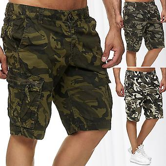 Men Cargo Shorts 3/4 Camouflage Trousers Bermuda Army Capri Pants Casual Bottoms