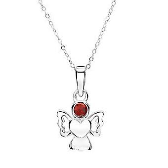 Jo For Girls Sterling Silver January Simulated Birthstone Angel Pendant Necklace