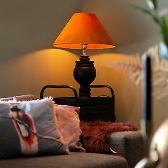 QAZQA Rural table lamp with velvet shade pumpkin spice 50 cm - Sage