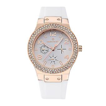 Timothy Stone Women's FACON-SILICONE Rose Gold-Tone and White Strap Watch
