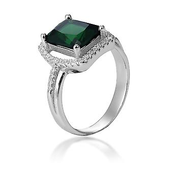 Orphelia Silver 925 Ring With Emerald And Zirconium ZR-7426