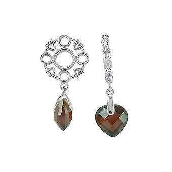 Storywheels Silver, Diamond & Garnet Heart Dangle Charm S241G