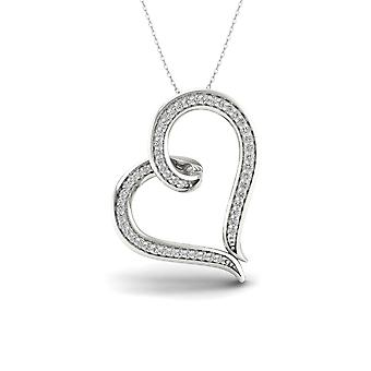 IGI Certified S925 Sterling Silver 0.16ct TDW Round Cut Diamond Heart Necklace
