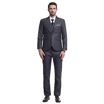 Allthemen Men-apos;s Suits 3-Piece Plaid Business Casual Slim Fit Blazer et Pantalons et Vest