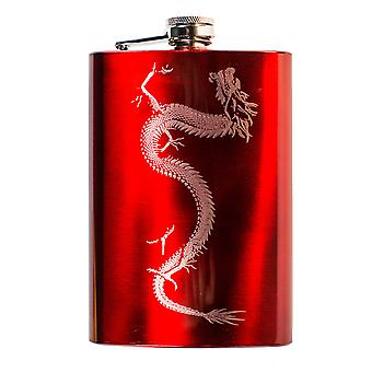 8oz red chinese dragon flask l1