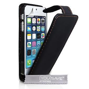 YouSave Accessories iPhone SE Leather Effect Flip Case Black