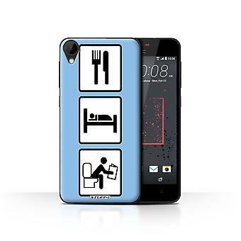 STUFF4 Case/Cover for HTC Desire 825/Poop/Blue/Eat/Sleep