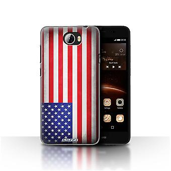 STUFF4 Case/Cover for Huawei Y5II/Y5 2/America/American/USA/Flags