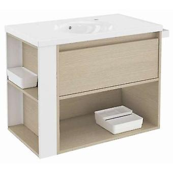 Bath+ 1 Drawer Cabinet + Shelf With Porcelain Basin Oak-White 80CM