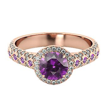 Amethyst 2.50 ctw Ring with Diamonds 14K Rose Gold Vintage Micro Pave Halo