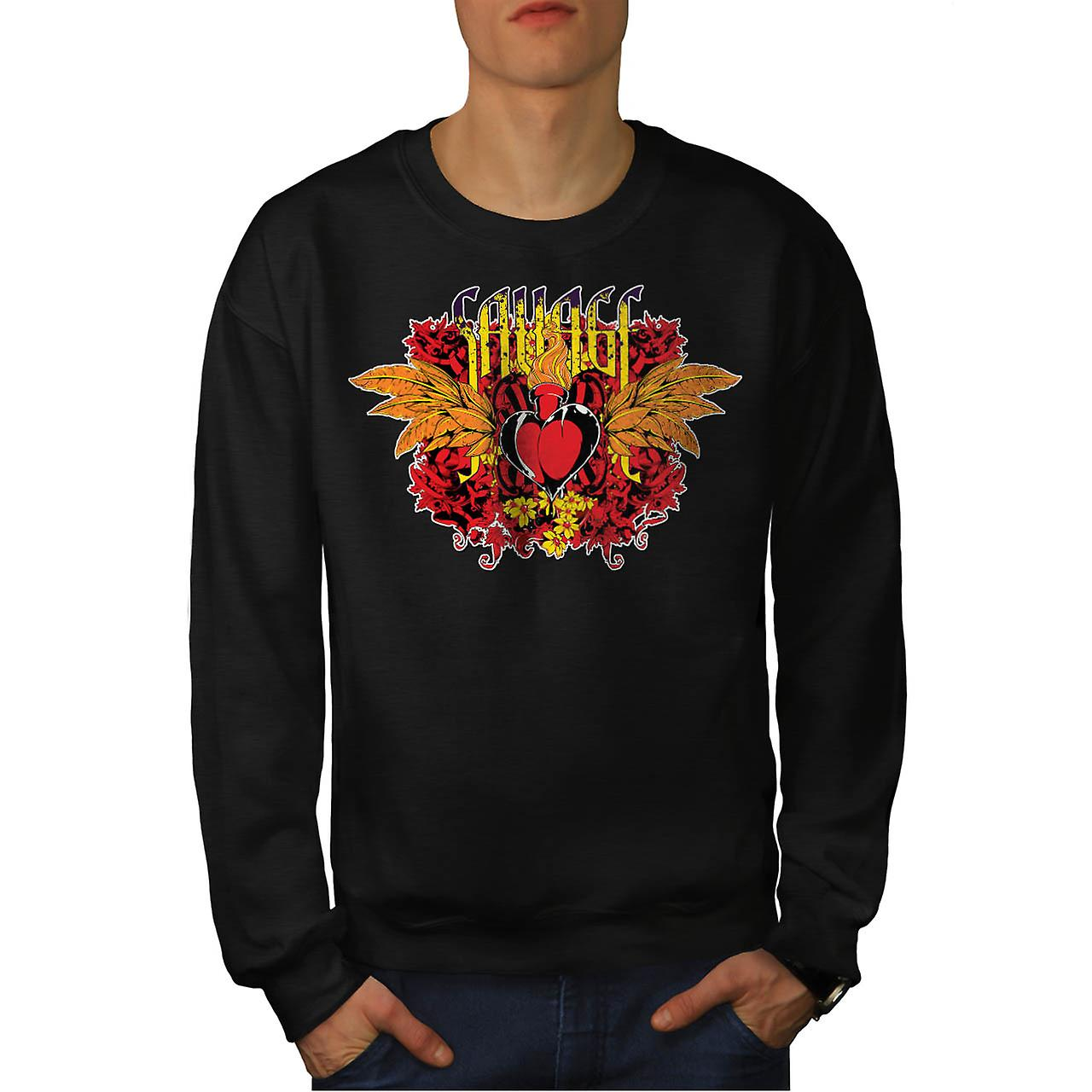 Savage Love Heart USA Lust Fire Men Black Sweatshirt | Wellcoda