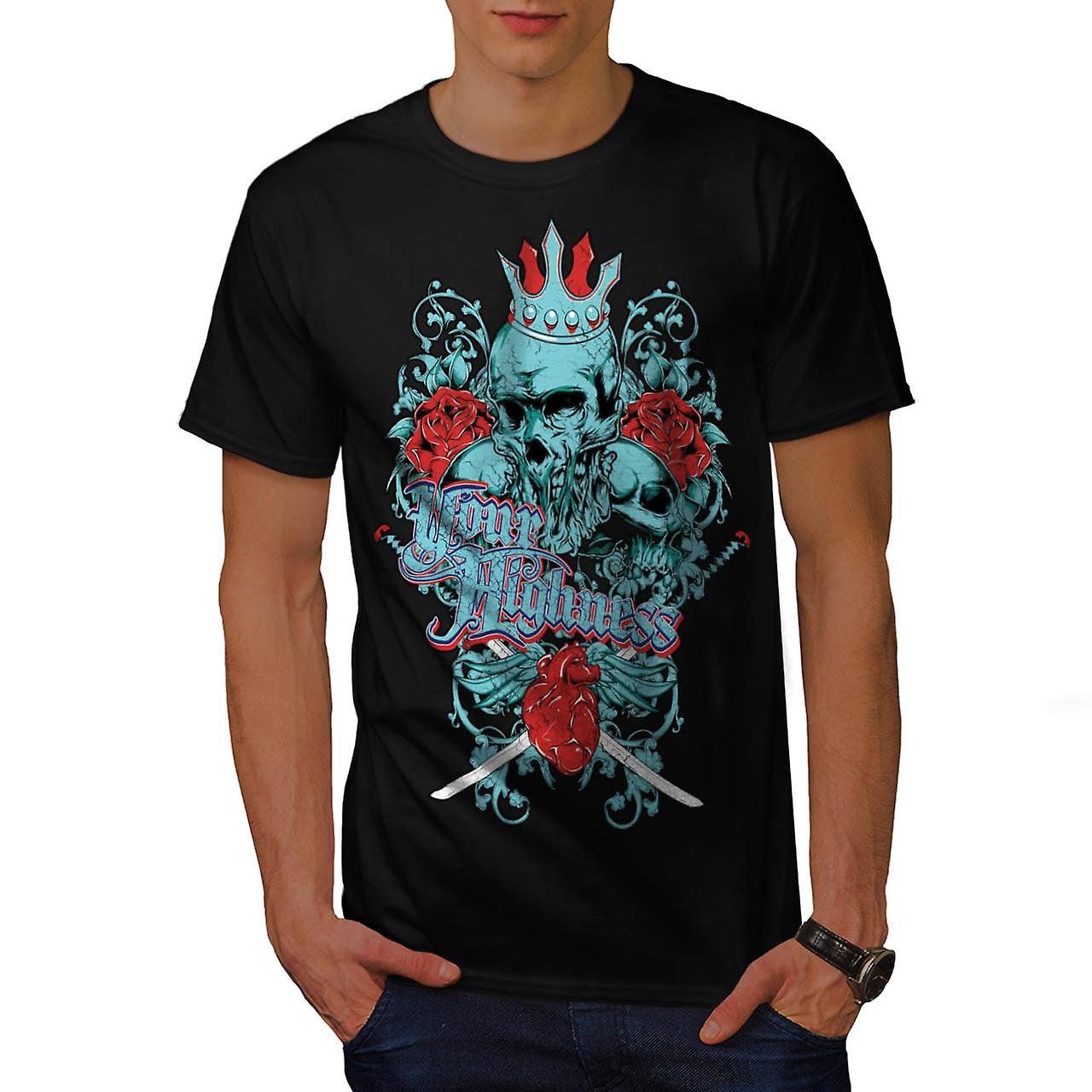 Your Highness King Skull Men Black T-shirt | Wellcoda
