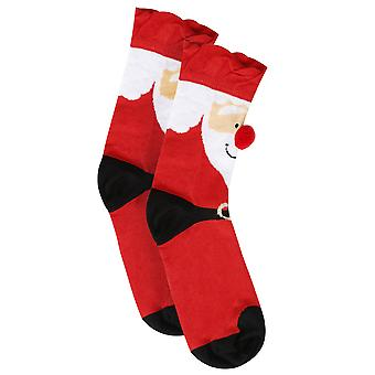 Red Santa Socks With Pom Pom Nose