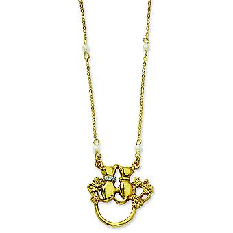 Gold-tone Fancy Lobster Closure Cats Glass Pearls Eyeglass Holder 28 In Necklace