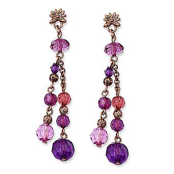 Rose-tons rose et violet perles acryliques Post Dangle Earrings