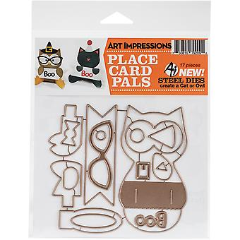 Art Impressions Die-Cat & Owl Placecard Set AI4805