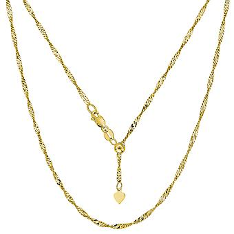 14k Yellow Gold Adjustable Singapore Link Chain Necklace, 1.15mm, 22
