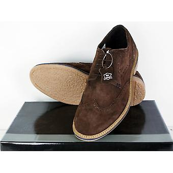 Roamers Men Real Suede Leather Brogues Dress Casual Summer Mods Shoes Dark Brown