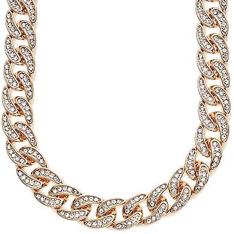Iced out hip hop bling CZ chain - 12 mm rose gold