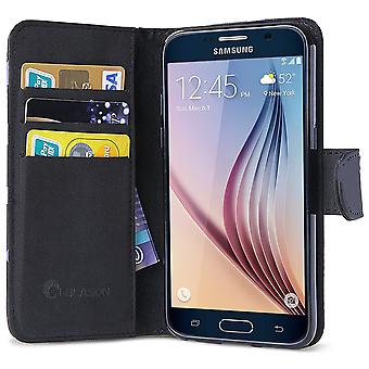 Galaxy S6 fall, [plånbok fallet] i-BlasonKickStand Samsung Galaxy S6 fall [cykelställ] läder täcker med kreditkort ID Hol