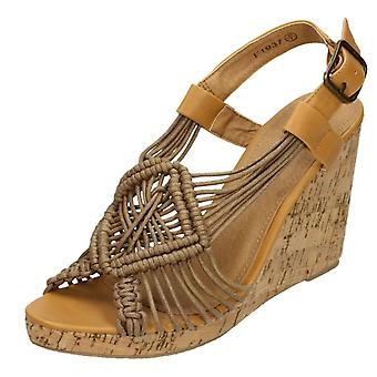 Ladies Spot On High Cork Wedge Sling Sandals