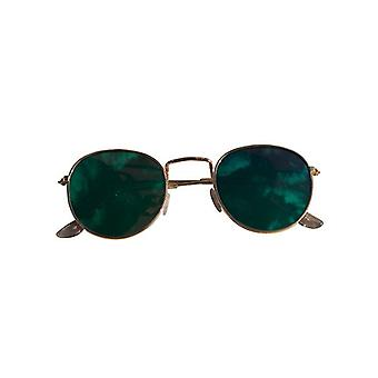 Cool urban sunglasses with green mirror glass gold