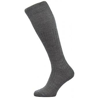 Pantherella Hemingway Rib Over the Calf Escorial Wool Socks - Dark Grey Mix
