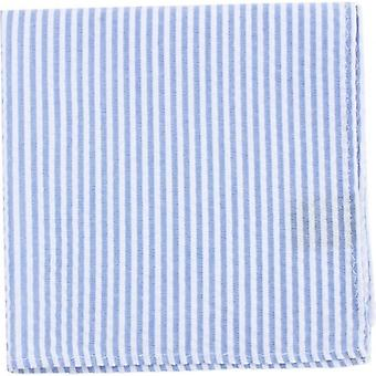 Knightsbridge Neckwear Striped Cotton Pocket Square - Sky Blue/White