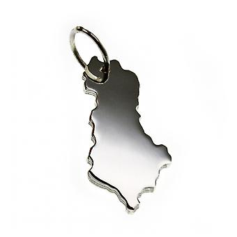 Trailer map Albania pendant in solid 925 Silver