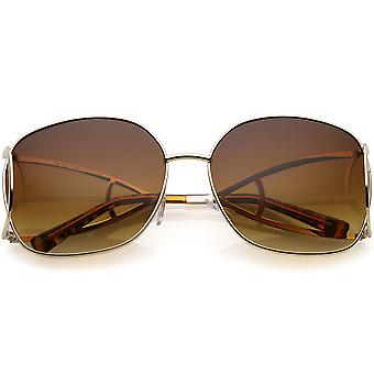 Women's Open Metal Arms Oversize Sunglasses Square Colored Lens 65mm