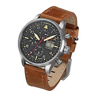 Bison men's watch wristwatch automatic bison No.. 2 BI0002BKCR leather