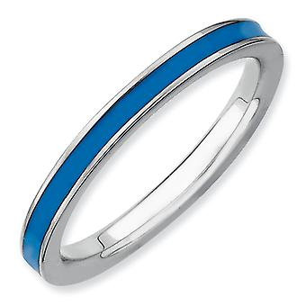 Sterling Silver Polished Rhodium-plated Stackable Expressions Blue Enameled 2.25mm Ring - Ring Size: 5 to 10